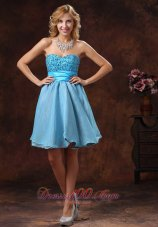 Baby Blue Sweetheart Mini-length Prom Pageant Dress With Beading