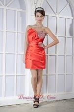 2013 Orange Red Dress for Prom Mini-length Beading