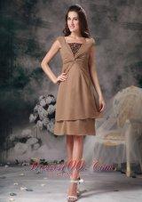 Brown Short Prom Homecoming Dress Mini-length Organza