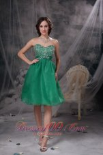 Lake Green Beading Prom Cocktail Dress Organza Sash