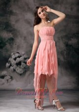Baby Pink Ruches Sash Chiffon Knee Length Prom Dress