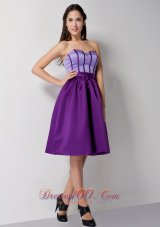 Eggplant Purple Knee Length Taffeta Cocktail Dress