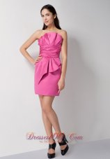 Rose Pink Ruches Ruffles Cocktail Dress Mini Length
