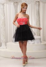 Watermelon and Black Mini-length Homecoming / Cocktail Dress