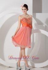 Floral Trimmed Short Prom Graduation Dress Beading Knee-length