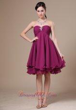 Dark Purple Homecoming Dress Ruched Beadwork