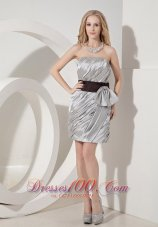 Silver Column Cocktail Dress Bow Mini-length