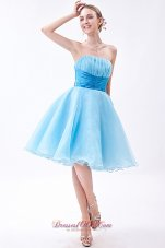 Baby Blue Knee-length Ruch Bridesmaid Dress