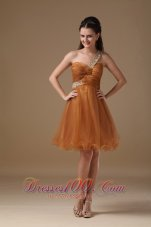 Knee-length Beading Prom Dress Beaded Twisted Bust