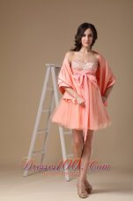 Matching Shawl Beaded Bust Bow Prom Homecoming Dress