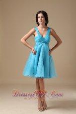 Deep V-neck Knee-length A-line Prom Dress