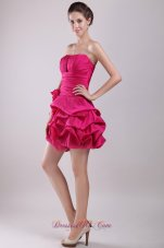 Pick-ups Mini Taffeta Hot Pink Homecoming Dress