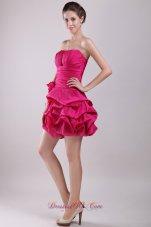 Pick-ups Mini Taffeta Hot Pink Homecoming Dress