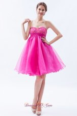 Organza Beading Prom Cocktail Dress Mini Hot Pink
