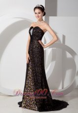 Printing Beaded Black Sweetheart Prom Evening Dress