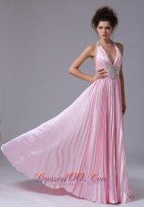 Beaded Halter Ruffles Train Pink Prom Homecoming Dress