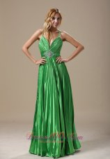 Spaghetti Straps Spring Green Pleat Prom Evening Dress