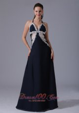 Halter Apliques Navy Blue Homecoming Prom Dress