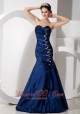Mermaid Beading Sweetheart Blue Prom Evening Dress Ruch