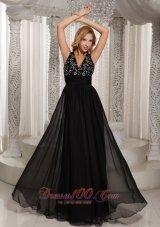 V Neck Beaded Black Prom Celebrity Dress Chiffon
