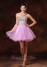 Beaded Sweetheart Lavender Short Cocktail Prom Gowns