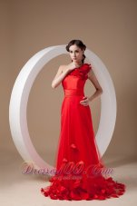 One Shoulder Hand Made Flowers Red Prom Evening Dress