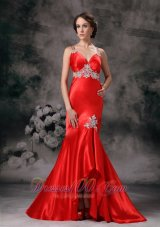 Appliques Straps High-low Red Evening Dress for Prom