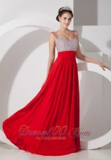 Red Straps Beading Prom Evening Dress Chiffon Ruched