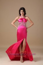 Coral Red V Neck Beading Prom Party Dress Brush Train