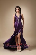 Beading V Neck Eggplant Puprle Prom Evening Dress