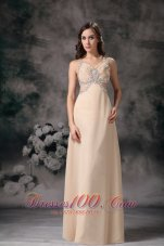 Champagne Beading Straps Evening Prom Dress Chiifon