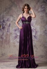 Spaghetti Straps Pleats Purple Pageant Evening Dresses
