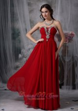 Wine Red Chiffon Beading Strapless Prom Evening Gowns