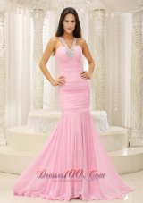 Mermaid V Neck Beaded Pink Celebrity Pageant Evening Dresses