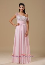 Baby Pink Chiffon Beading Prom Celebrity Dress Party