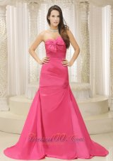Bowknot Hot Pink Ruched Prom Mother Dresses Train