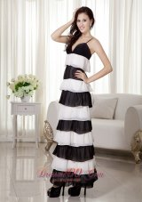 White and Black Spaghetti Straps Prom Evening Dress