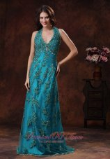 Halter Appliques Turquoise Prom Celebrity Dress With Brush Train