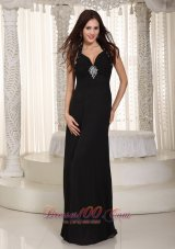 Black Halter Beading Prom Celebrity Dress Chiffon
