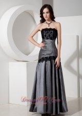 Grey Lace Formal Prom Evening Dress Strapless Taffeta