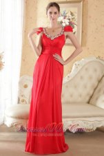 Cap Sleeves Beaded Red Prom Evening Dress Brush Train