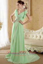 Apple Green Sleeves Prom Graduation Dress Beaded