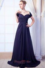 Purple Beaded Sweetheart Prom Celebrity Dress