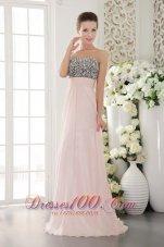 Beading Pink Chiffon Prom Evening Dress Sweetheart