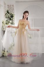 Champagne Sequins Prom Graduation Dress Sweetheart