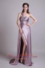 Lavender One Shoulder Brusn Train Beaded Prom Evening Dress