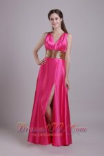 Hot Pink V-neck Paillette Sash Prom Evening Dress