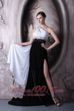 White and Black Beaded One Shoulder Evening Dress