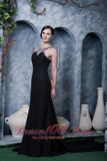 Black Beading Little Black Dress Chiffon Watteau Train