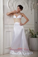 Beaded Straps Prom Evening Dress Brush Train Satin